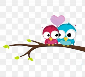 Cartoon Bird - Valentines Day Heart Greeting Card Wallpaper PNG