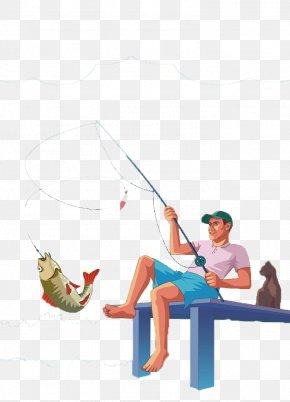 Cartoon Fish Hook Men - Fishing Rod Fish Hook Angling Fisherman PNG