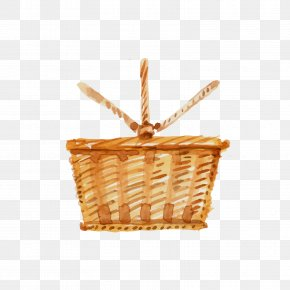 Yellow Bamboo Basket - Wine Barbecue Basket Food Picnic PNG