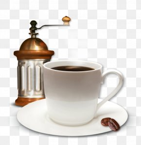Cup Of Coffee And Coffee Mill Clipart Picture - Cafe Coffee Restaurant Template PNG