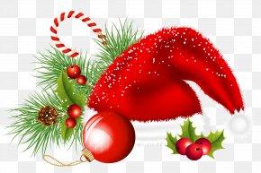 Transparent Christmas Santa Hat And Ornaments Decoration Clipart - Christmas Decoration Christmas Ornament Clip Art PNG