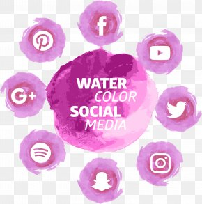 Pink Watercolor Social Tools - Social Media Social Network Download Icon PNG