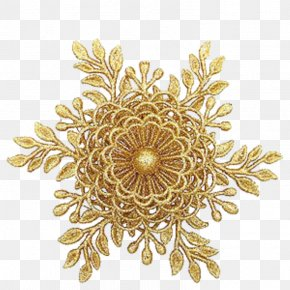 Gold - Gold Christmas Ornament Jewellery Pandora Flower PNG