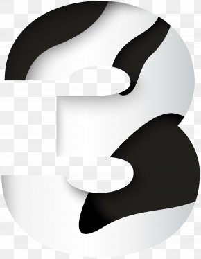 Number Three Black White Clip Art Image - Black And White Graphics Font Design PNG