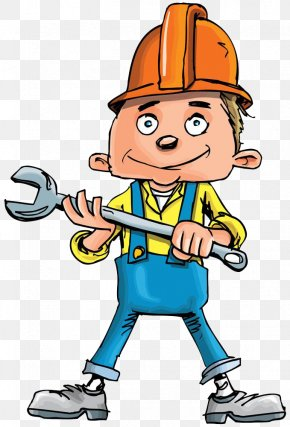 A Worker With A Spanner - Plumber Plumbing Cartoon Handyman PNG