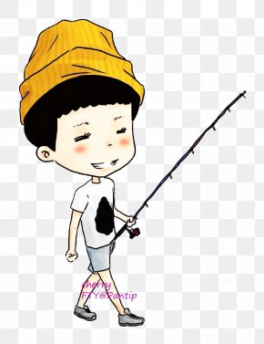 A Boy With A Fishing Rod - Fishing Rod Angling PNG