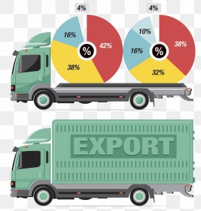 Container Transport Vehicles - Transport Logistics Infographic Illustration PNG