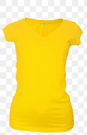 T-shirt - T-shirt Yellow Sweater Clothing Collar PNG