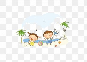 Fresh Summer Vacation Picture Element Vector Material - Child Composition Cartoon PNG