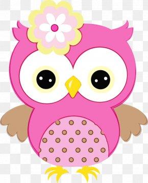 Bird Bird Of Prey - Owl Pink Cartoon Bird Of Prey Bird PNG