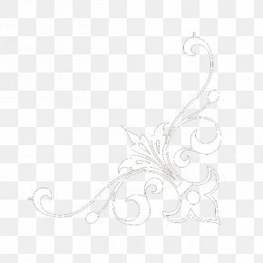 Corner Flower - Black And White Pattern PNG