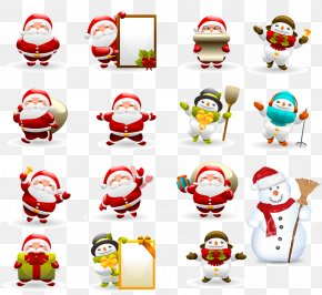 Santa Claus And Snowman Various - Santa Claus Christmas Ornament Clip Art PNG