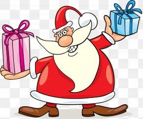 Red Ribbon Santa Claus - Santa Claus Christmas Gift Clip Art PNG