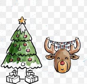 Vector Hand-painted Christmas Tree Deer - Reindeer Christmas Tree PNG