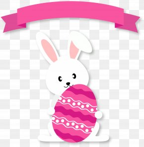 Easter Bunny With Ribbon - Easter Bunny Easter Egg Rabbit PNG