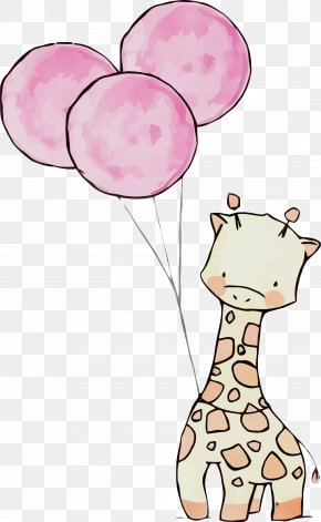 Line Art Cartoon - Giraffe Giraffidae Pink Cartoon Line Art PNG