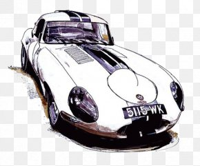 White Watercolor Sports Car - Sports Car Watercolor Painting PNG