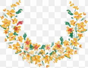 Watercolor Yellow Floral Half Round Border Vector - Flower Yellow Clip Art PNG