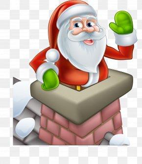 Santa Chimney - Santa Claus Cartoon Chimney Illustration PNG