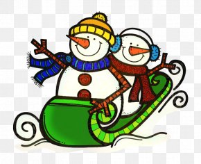 Sled Cartoon - Christmas Winter Background PNG