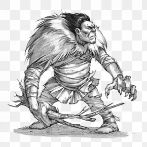 Black And White Game Long Hair Characters - Inuit Religion Mythology Legendary Creature Illustration PNG