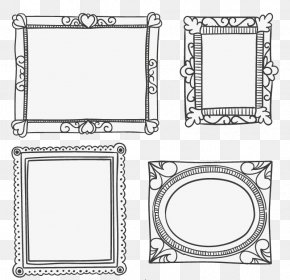4 Creative Black Frame Vector Material - Gold Illustration PNG