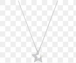 Swarovski Jewellery Women's White Gold Necklace - White Symmetry Black Angle Pattern PNG