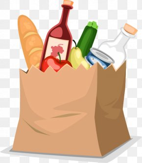 Shopping Paper Bag Of Food - Food Shopping Bag Grocery Store PNG