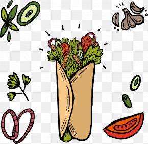 Design - Shawarma Restaurant Floral Design Fast Food PNG