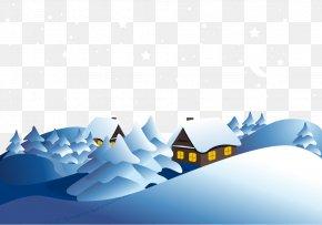 Vector Snowy Mountain Village - Snowflake Winter Euclidean Vector PNG