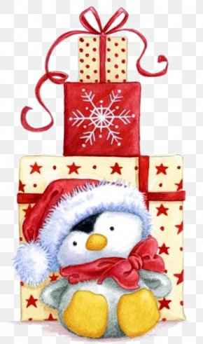 Christmas Gift - Penguin Santa Claus Christmas Gift Clip Art PNG