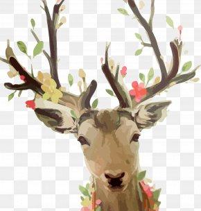 Watercolor Deer - Reindeer Watercolor Painting Sika Deer PNG