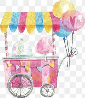 Watercolor Hand-painted Cotton Candy Cart - Cotton Candy Lollipop PNG
