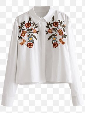 T-shirt - Blouse T-shirt White Sleeve Button PNG