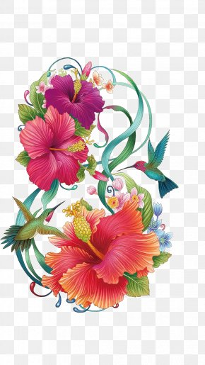 Hand Painted Hibiscus Flower - Common Hibiscus Flower Color Painting PNG