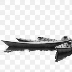 Black And White Boat Lake - Black And White Boat Yacht Photography PNG