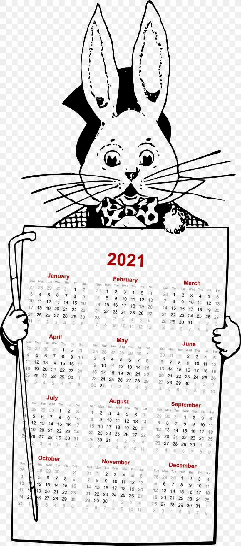2021 Cartoon Calendar, PNG, 1062x2400px, Rabbit, Area, Black And