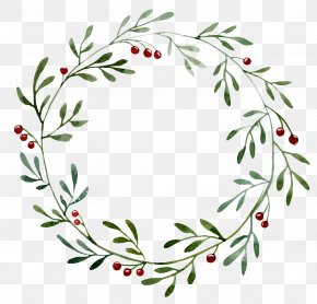 Green Plant Hollow Round Border - Wreath Christmas Watercolor Painting Illustration PNG