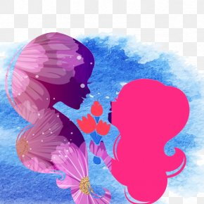 Mother's Day - Purple Flower Silhouette PNG
