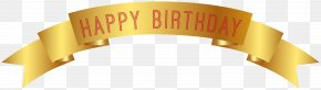 Happy Birthday Gold Banner Clip Art - Birthday Clip Art PNG