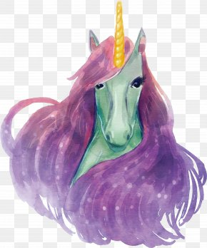 A Unicorn With A Purple Mane - Unicorn Euclidean Vector Gratis Icon PNG
