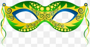 Green Yellow Carnival Mask Clip Art Image - Mask Carnival Mardi Gras Clip Art PNG