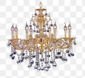 European Style Retro Golden Chandelier - Chandelier Lighting PNG