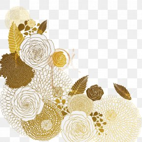 Vector Golden Flower Pattern - Flower Euclidean Vector PNG