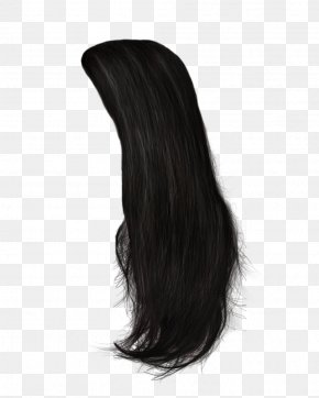 Hair 11 - Black Hair Wig Hairstyle Long Hair PNG
