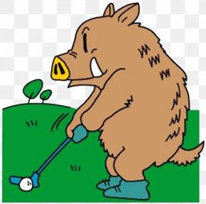 Golf Pigs - Domestic Pig Chinese Zodiac Clip Art PNG