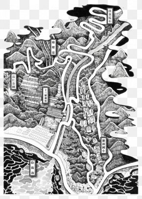 Black And White Illustration Map - Map Drawing Black And White Illustrator Illustration PNG
