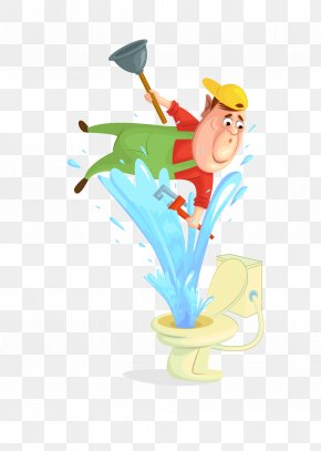 Vector Cartoon Illustration Repair Toilet Workers - Cartoon Toilet Illustration PNG