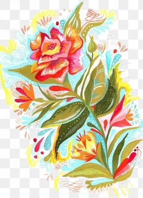 Bright Rose - Watercolor Painting Printmaking Printing Art Illustration PNG