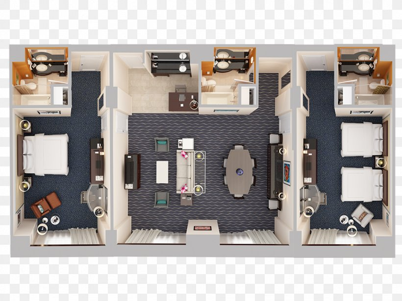 3D Floor Plan Hotel Suite House, PNG